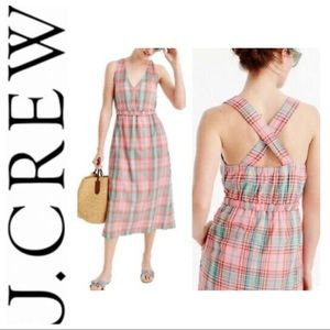 J. Crew Cross-back Dress In Vintage Plaid Pink XL